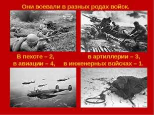 Они воевали в разных родах войск. В пехоте – 2, в артиллерии – 3, в авиации