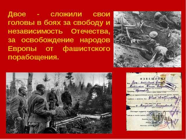 Двое - сложили свои головы в боях за свободу и независимость Отечества, за о...