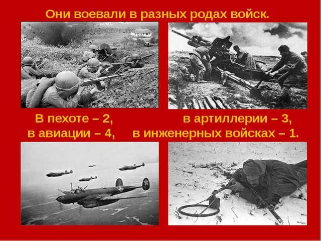 Они воевали в разных родах войск. В пехоте – 2, в артиллерии – 3, в авиации...