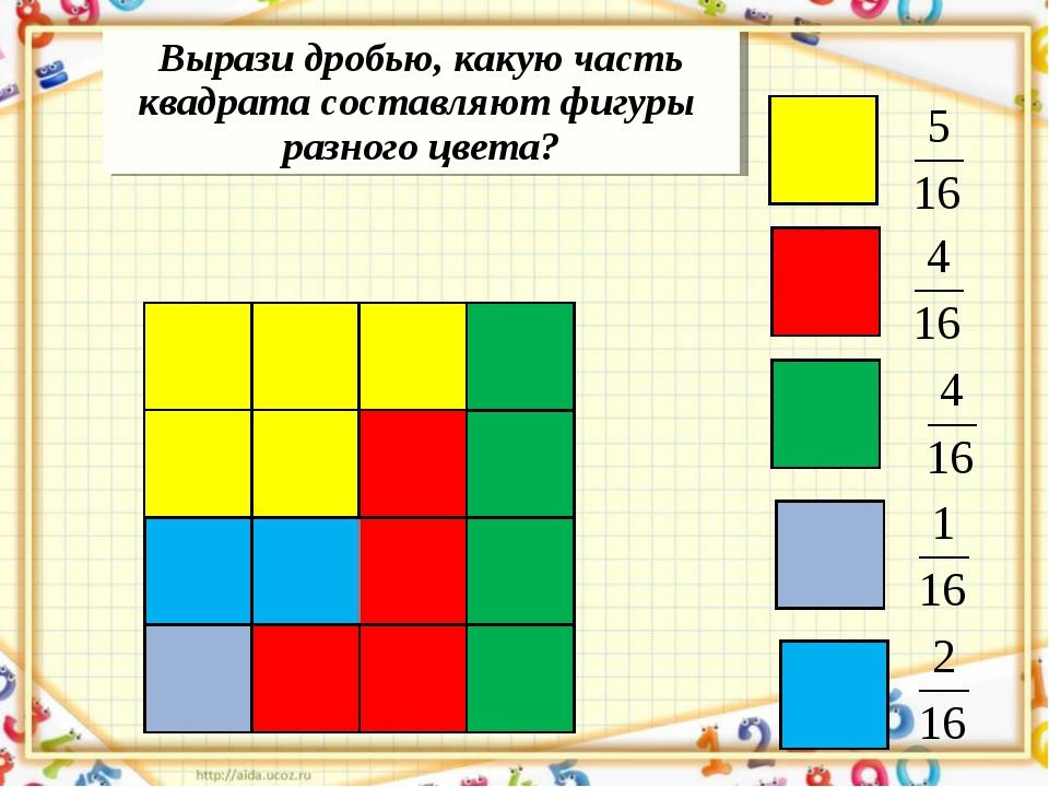 Вырази дробью, какую часть квадрата составляют фигуры разного цвета?