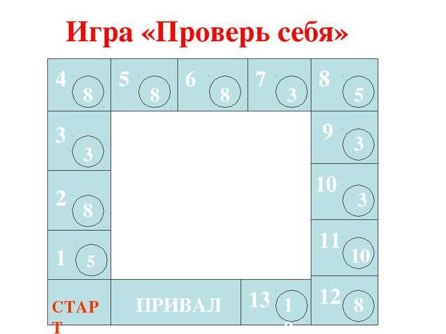 ПРИВАЛ СТАРТ 1 5 2 8 3 3 4 8 5 8 6 8 7 3 8 9 10 11 12 13 5 3 3 10 8 10 Игра «...