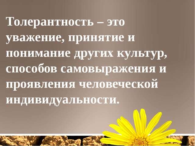 Толерантность – это уважение, принятие и понимание других культур, способов с...