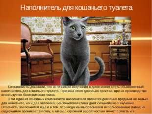 Наполнитель для кошачьего туалета Специалисты доказали, что источником излуче