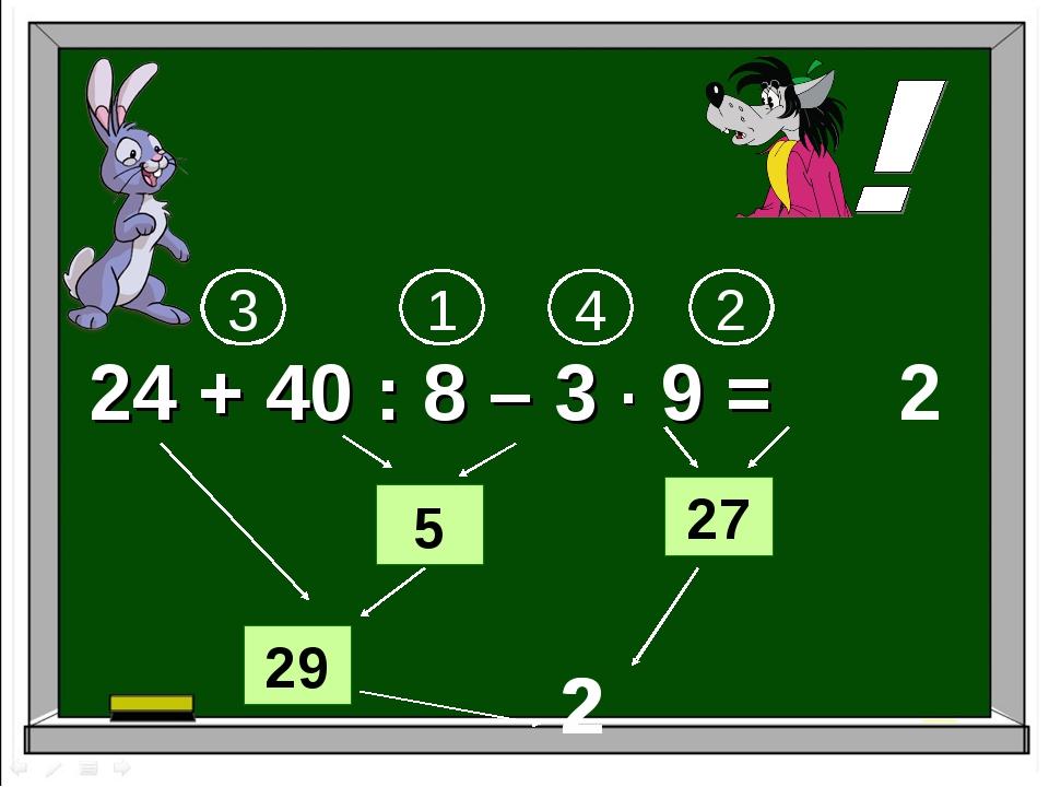 24 + 40 : 8 – 3 ∙ 9 = 1 2 3 2 5 29 4 27 2 2