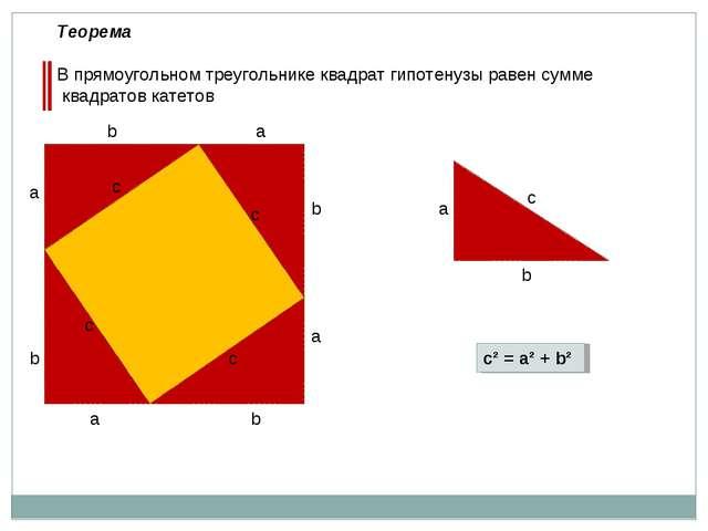 a b a b с с с с а а b b а b с с² = а² + b² Теорема В прямоугольном треугольни...