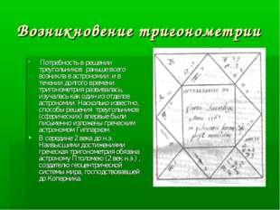 Возникновение тригонометрии Потребность в решении треугольников раньше всего
