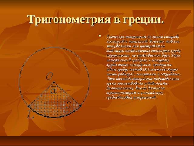 Тригонометрия в греции. Греческие астрономы не знали синусов, косинусов и тан...