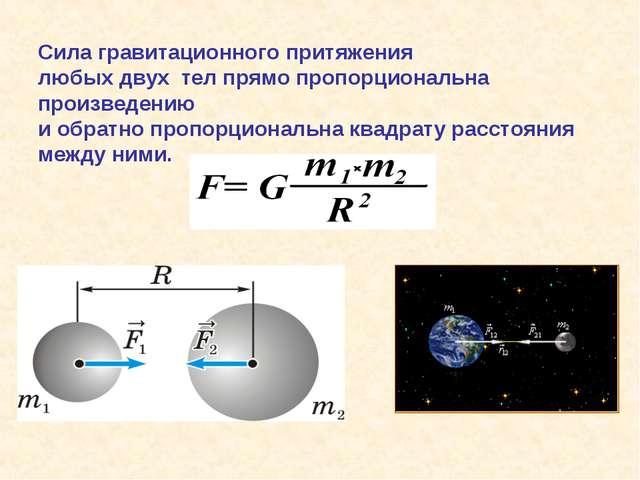 Сила гравитационного притяжения любых двух тел прямо пропорциональна произве...