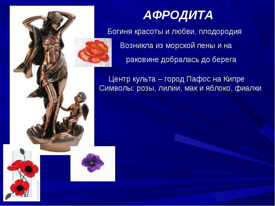 АФРОДИТА Богиня красоты и любви, плодородия Возникла из морской пены и на ра...
