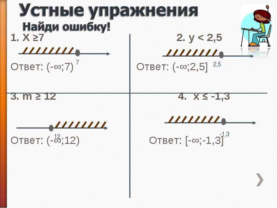 1. Х ≥72. y < 2,5 Ответ: (-∞;7) Ответ: (-∞;2,5] 3. m ≥ 12 4. x ≤ -1...