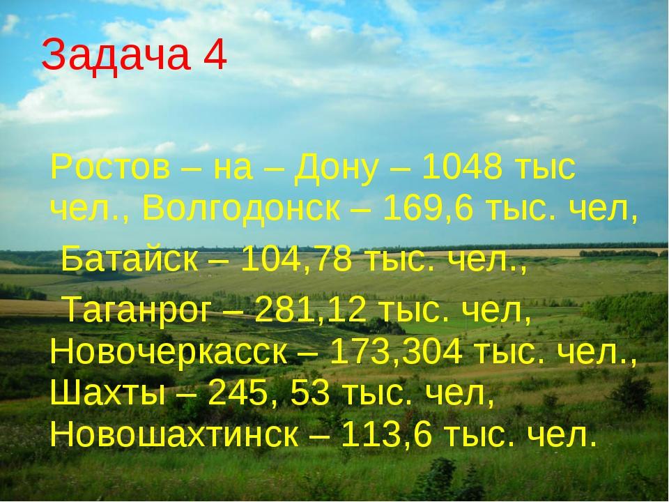 Ростов – на – Дону – 1048 тыс чел., Волгодонск – 169,6 тыс. чел, Батайск – 1...