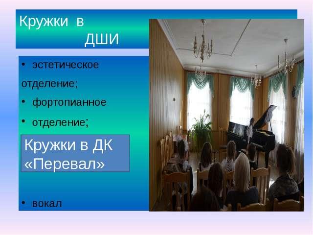 Кружки в ДШИ эстетическое отделение; фортопианное отделение; вокал Кружки в Д...