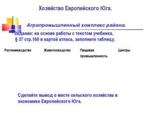 Хозяйство Европейского Юга. Агропромышленный комплекс района. Задание: на осн