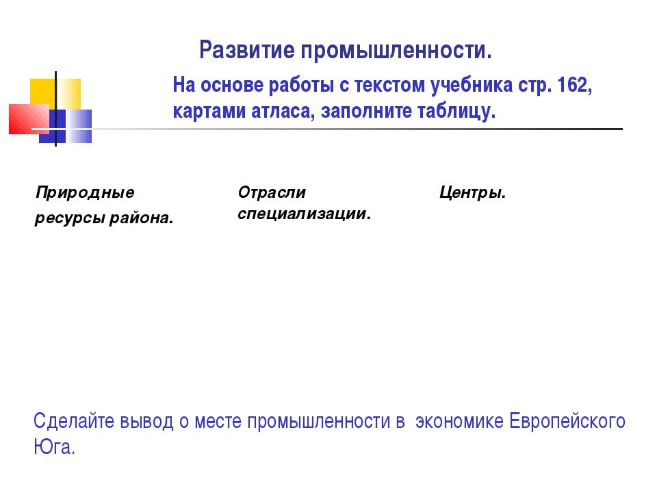 Развитие промышленности. На основе работы с текстом учебника стр. 162, картам...