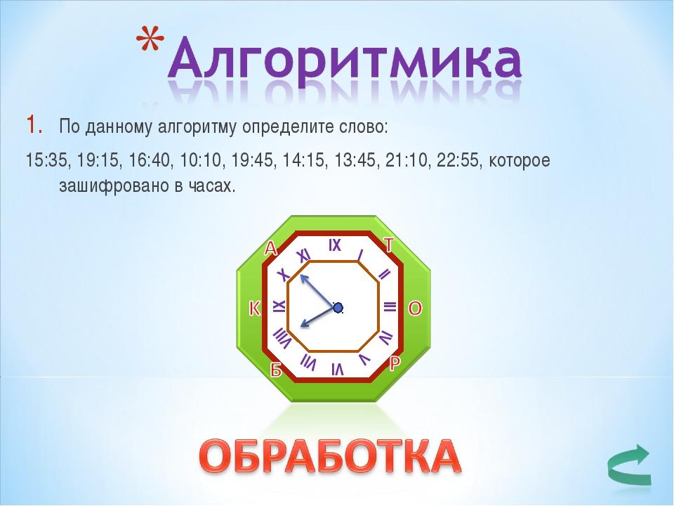 По данному алгоритму определите слово: 15:35, 19:15, 16:40, 10:10, 19:45, 14:...