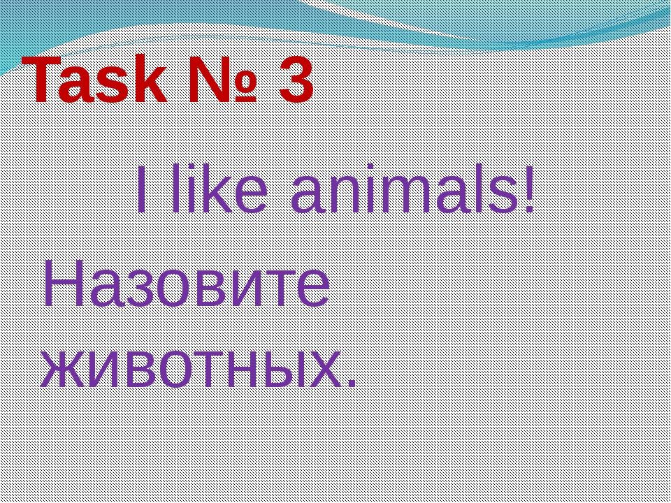 Task № 3 I like animals! Назовите животных.