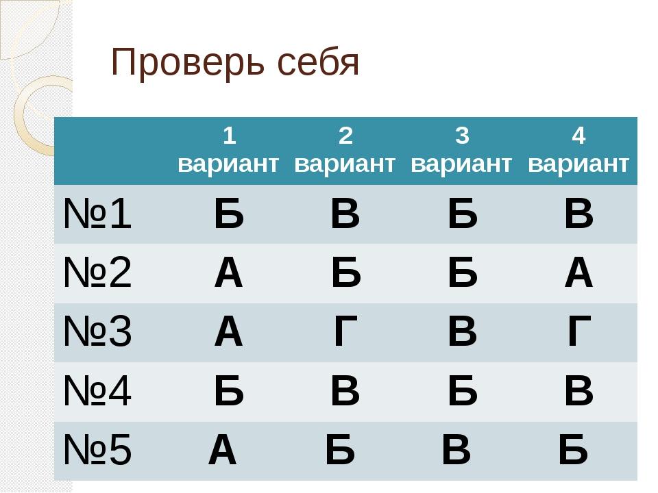 Проверь себя 1 вариант 2 вариант 3 вариант 4 вариант №1 Б В Б В №2 А Б Б А №3...