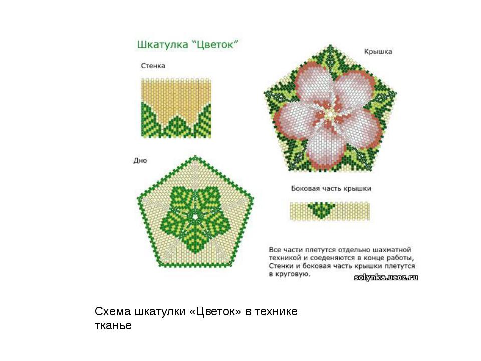 Схема шкатулки «Цветок» в технике тканье