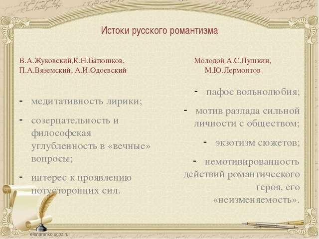 Истоки русского романтизма В.А.Жуковский,К.Н.Батюшков, П.А.Вяземский, А.И.Одо...
