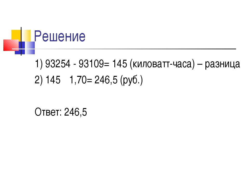Решение 1) 93254 - 93109= 145 (киловатт-часа) – разница 2) 145 · 1,70= 246,5...