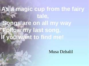 As a magic cup from the fairy tale, Songs are on all my way Follow my last s