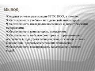 Вывод: Созданы условия реализации ФГОС НОО, а именно: Обеспеченность учебно –