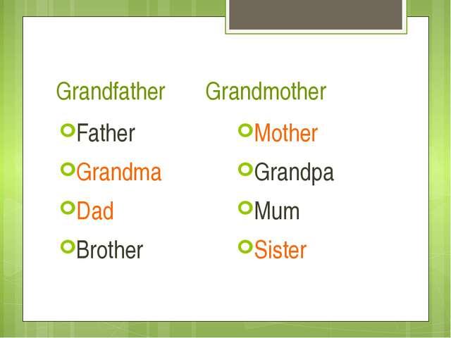 Grandfather Grandmother Father Grandma Dad Brother Mother Grandpa Mum Sister