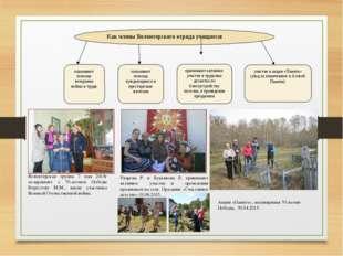 Как члены Волонтерского отряда учащиеся: оказывают помощь ветеранам войны и т