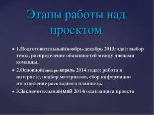 1.Подготовительный(ноябрь-декабрь 2013года): выбор темы, распределение обязан