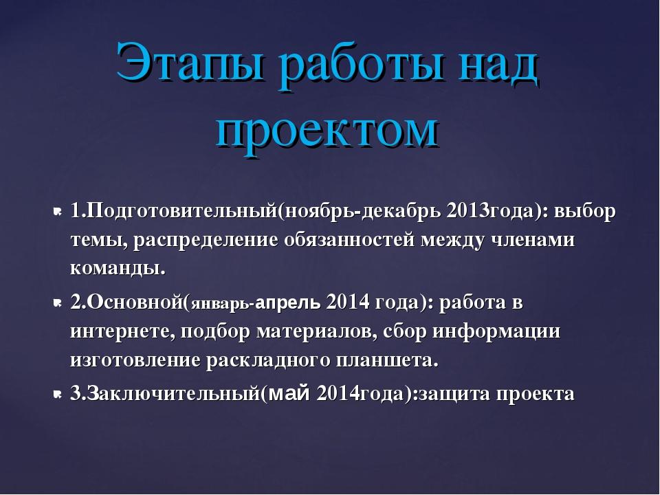 1.Подготовительный(ноябрь-декабрь 2013года): выбор темы, распределение обязан...