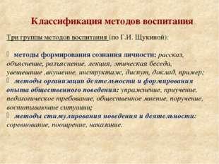 Классификация методов воспитания Три группы методов воспитания (по Г.И. Щукин