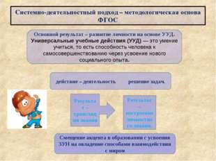 Системно-деятельностный подход – методологическая основа ФГОС Результат – тра