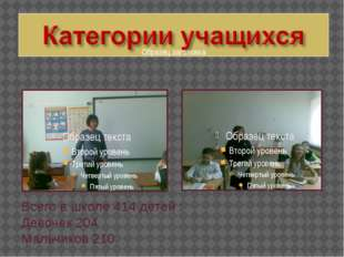 Всего в школе 414 детей : Девочек 204 Мальчиков 210