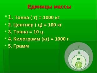 Единицы массы 1. Тонна ( т) = 1000 кг 2. Центнер ( ц) = 100 кг 3. Тонна = 10