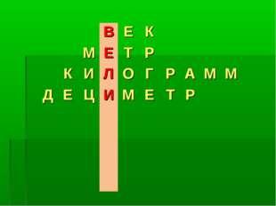 ВЕК МЕТР КИЛОГРАММ ДЕЦИМЕТР
