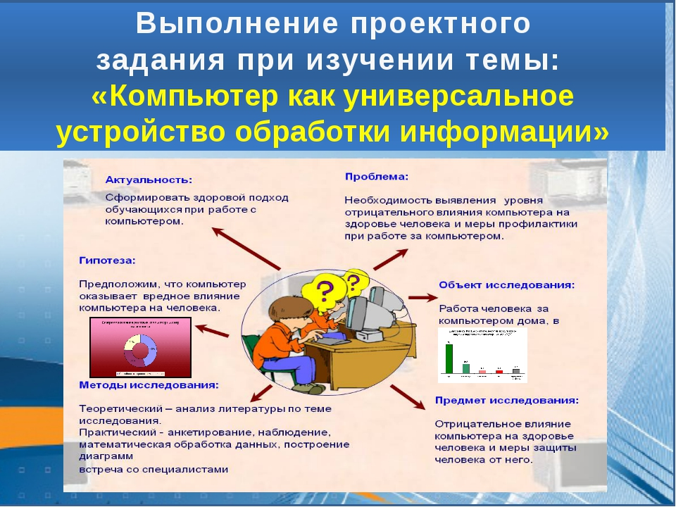 Выполнение проектного задания при изучении темы: «Компьютер как универсальное...