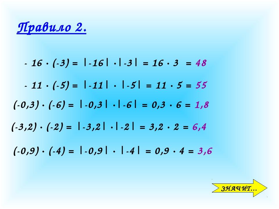 Правило 2. ЗНАЧИТ… - 16 · (-3) = |-16| ·|-3| = 16 · 3 = 48 - 11 · (-5) = |-11...