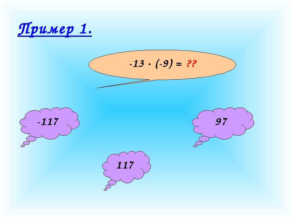Пример 1. -13 · (-9) = ?? -117 117 97
