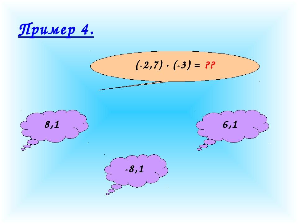 Пример 4. (-2,7) · (-3) = ?? 8,1 -8,1 6,1