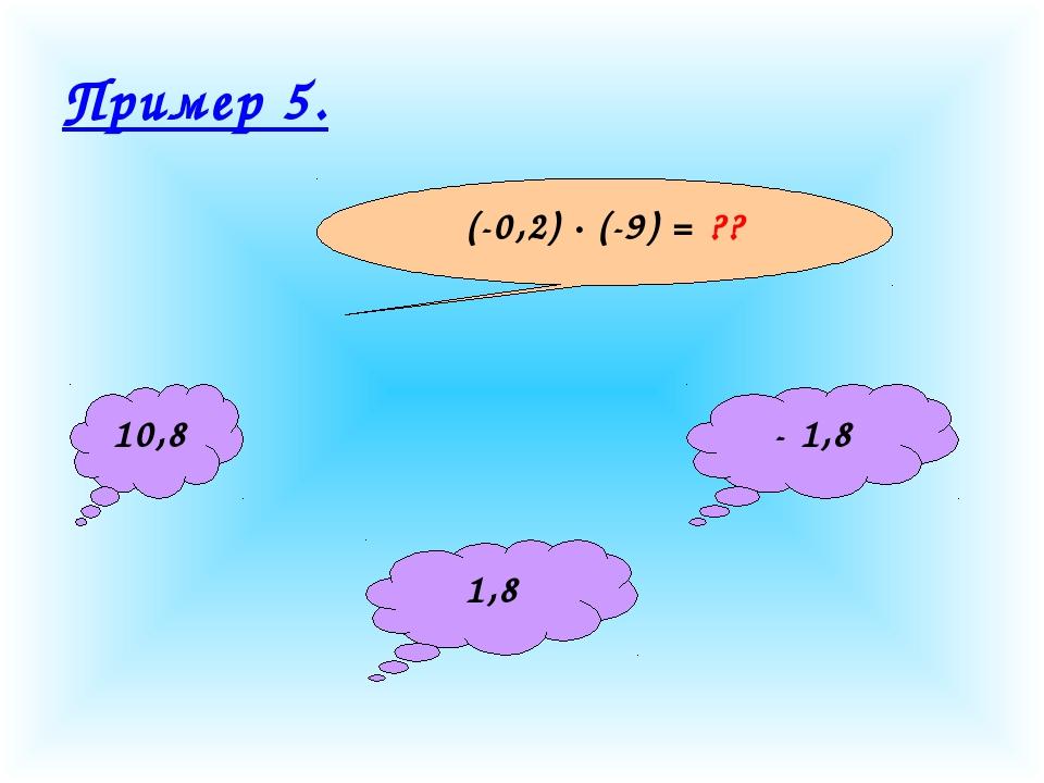 Пример 5. (-0,2) · (-9) = ?? 10,8 1,8 - 1,8