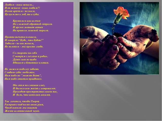 Любим - пока живем... Или живем - пока любим?! Песни кричим - не поем, Целуем...