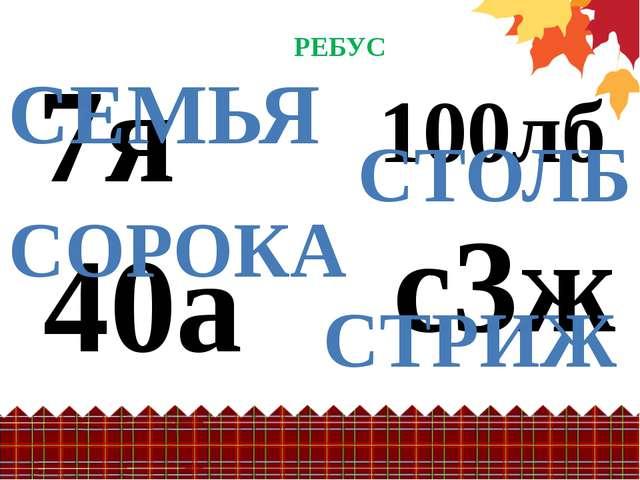 РЕБУС 7я 40а СЕМЬЯ СОРОКА 100лб СТОЛБ с3ж СТРИЖ Место для фотографии