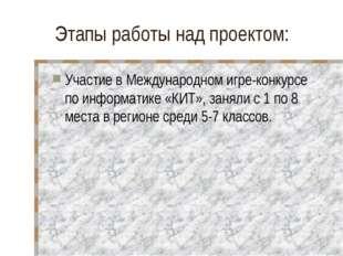 Этапы работы над проектом: Участие в Международном игре-конкурсе по информати