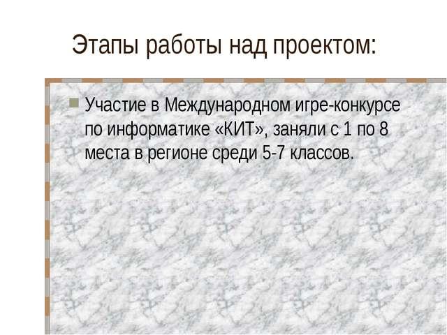 Этапы работы над проектом: Участие в Международном игре-конкурсе по информати...