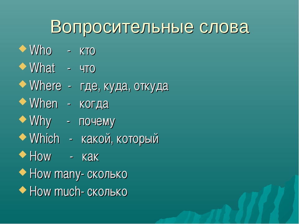Вопросительные слова Who - кто What - что Where - где, куда, откуда When - ко...