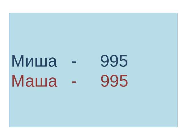 Миша - 995 Маша - 995