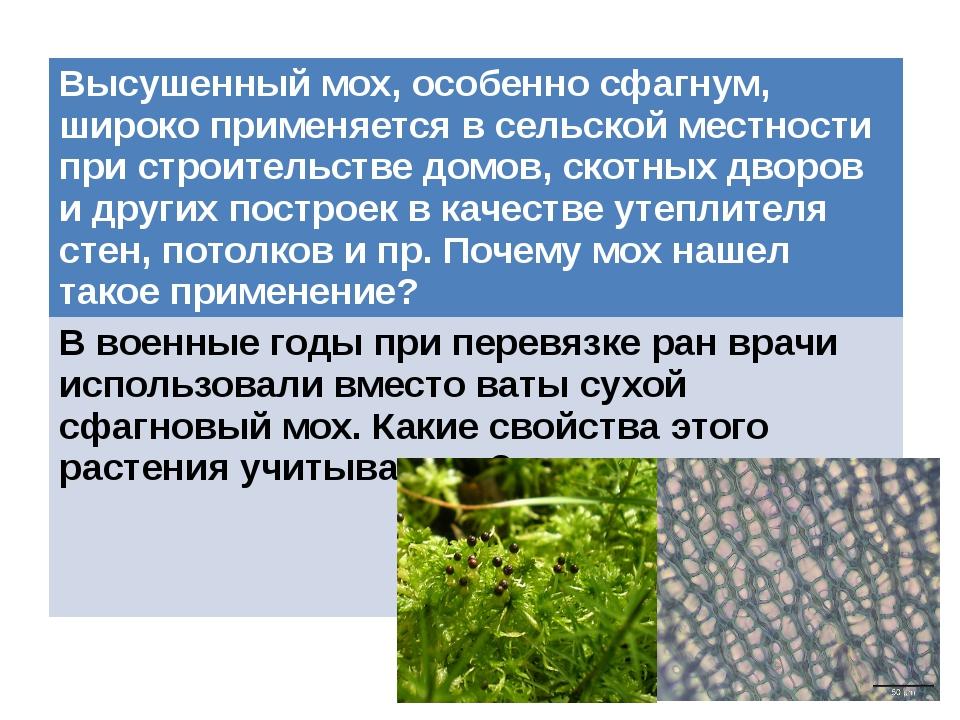 Высушенный мох, особенно сфагнум, широко применяется в сельской местности при...