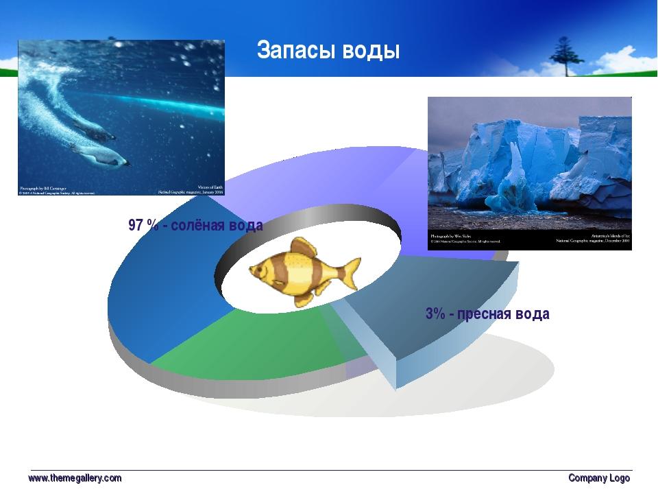www.themegallery.com Company Logo 3% - пресная вода 97 % - солёная вода Запас...