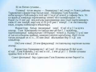 Бөек Ватан сугышы... Галяның туган авылы — Ленинград өлкәсендәге Лужск район