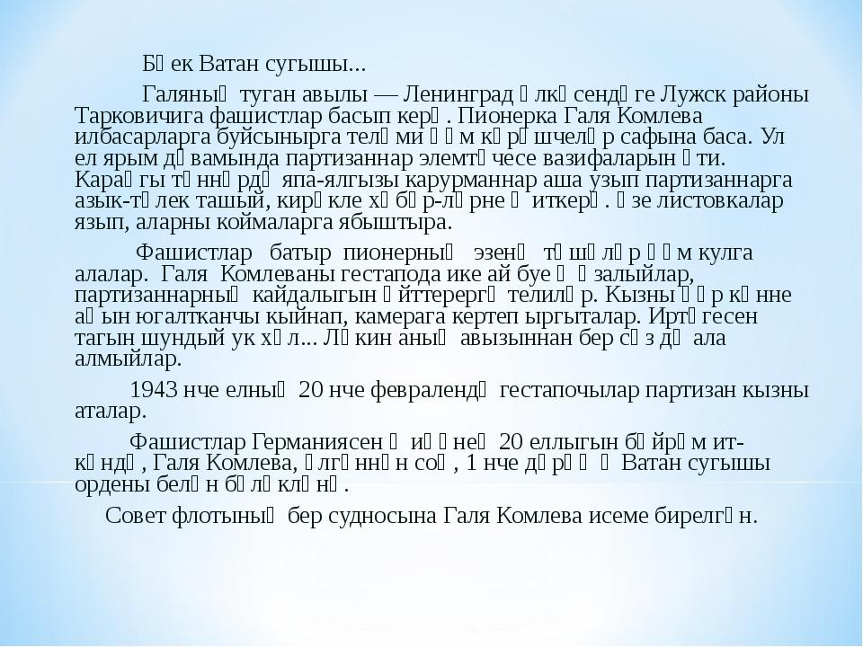 Бөек Ватан сугышы... Галяның туган авылы — Ленинград өлкәсендәге Лужск район...